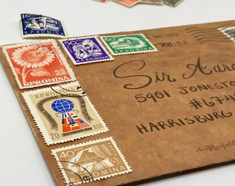 6 used vintage Romania vintage postage stamps | Perfect for scrapbooking, stamp collecting, snail mail art, and crafting