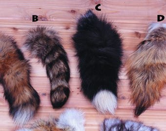 Authentic Animal Fur Tails - Red Fox Tail - Raccoon Tail - Silver Fox Tail - Coyote Tail - Genuine Fur Tails for Crafts