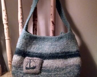 Wool purse with sailboat pocket