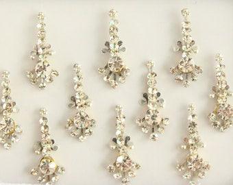 10 Silver Long Bindis, Wedding Bindis,Stone Bindis,Silver Bindis,India Bindis,Bollywood Bindis, Long Bindis, Self Adhesive Stickers Packs