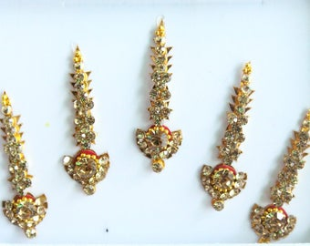 Antique Gold/Silver Long Face Jewels,Wedding Long Bindis Stickers,Stone Bindis,Gold Bindis,Bindis,Bollywood Bindis,Self Adhesive Stickers