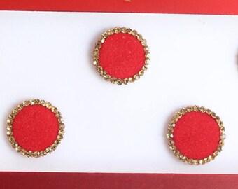 Red Wedding Round Bindis ,Round Bindis,Velvet Red Bindis,Round Plain Red Face Jewels Bindis,Bollywood Bindis,Self Adhesive Stickers Pack