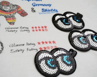 Shinning blue eyes sequin iron on patch, eye patch, denim patch, iron on hats/jackets/bags/jeans, DIY