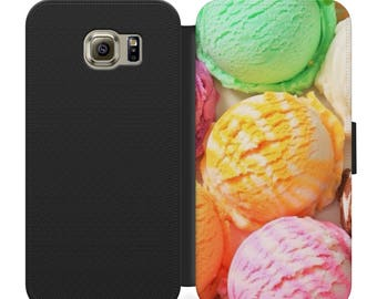 Ice cream scoops flip wallet phone case for iphone 4 5 6 7, Samsung s2 s3 s4 s5 s6 s7 S8 S8 plus and more