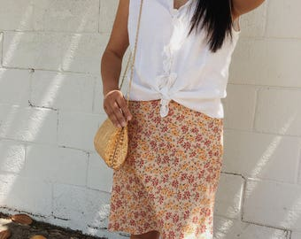 Vintage Pale Yellow Floral Skirt Petite 0/xs