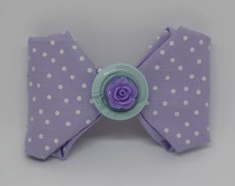 Lovely lilac purple vintage retro Polka Dot Hair Bow