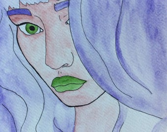 Ultraviolet Hair Watercolor Painting