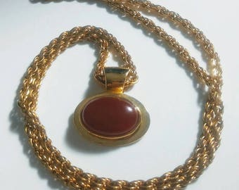 Bezel Set Vintage Red Stone Cabochon Pendant with Chain