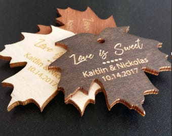 Love Is Sweet Maple Leaf Tags