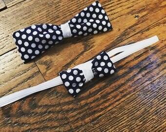 Blue and White Polka Dot Mini bow headband and Bowtie