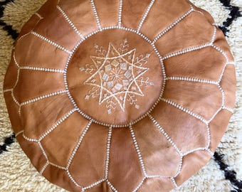 Moroccan Pouf Leather pouf Leather Ottoman  Moroccan Ottoman tan pouf