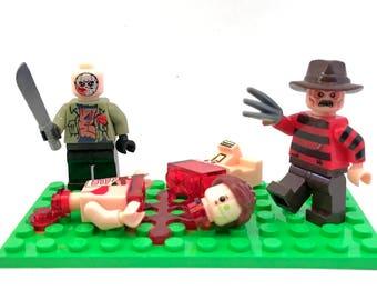 Freddy vs Jason Custom Lego Compatible Set Freddy Krueger Jason Voorhees