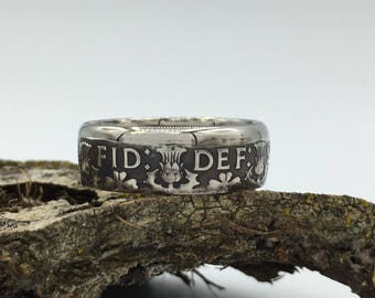 """Men's or Ladies Beautifully Hand Crafted British """"Florin"""" Coin Ring"""