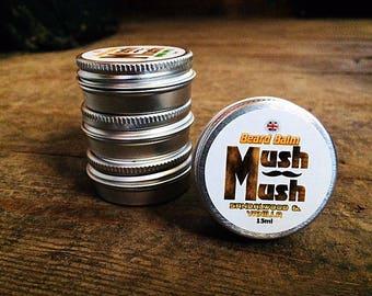 Mush Mush Sandalwood and Vanilla Beard Balm - Beard Care - Beard Softener - Natural Men's Hair Care Products - Leave in Beard Taming Styling