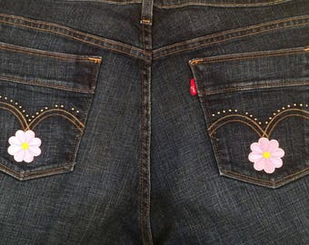 Small pink flower jeans