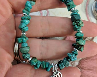 Turquoise and Sterling Silver Adjustable Bracelet with Shell Charm