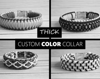 THICK Custom Color Paracord Dog Collar