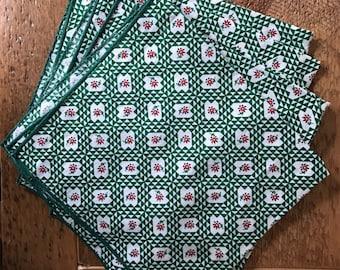 Set of Four Vintage Rosette Napkins