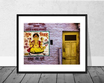 Indian Art Print, India Photography, Ganesh, Pink Wall, Colour Photography, Home Décor, Architecture Photography