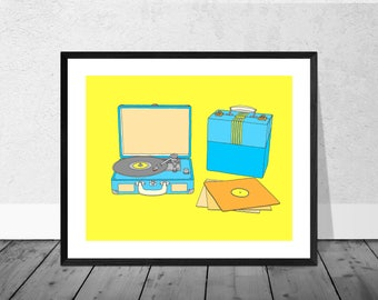 Record Art Print, Vinyl Art Print, Music Art Print, Record Player, Turntable, Vinyl, 45s, 33s, 78s, Vintage, Retro Art Print