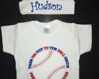 Take me out to the ballgame Onesie with Hat