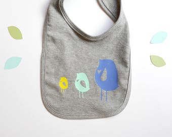 Soft Grey Baby Bib // Cute Folk Bird Heart Illustration // Custom New Baby Gift Unisex yellow blue mint