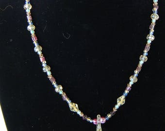 Gold and purple glass bead necklace