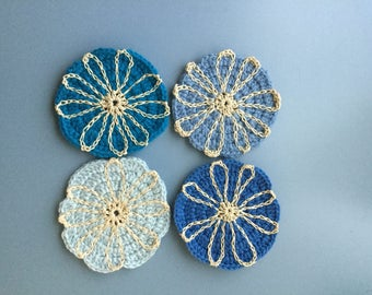 Set of 4 blue flower coasters
