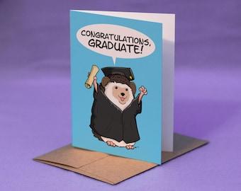 Hedgehog Graduation Card - CONGRATULATIONS GRADUATE! - Graduation Hedgehog Card - Hedgehog Greeting Card