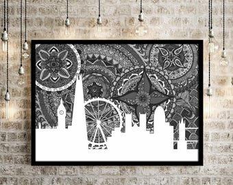 London, Poster, Black and White, Big Ben, Art, England, Doodle, Zentangle, Digital Illustration, Print, Home Decore, City, Skyline