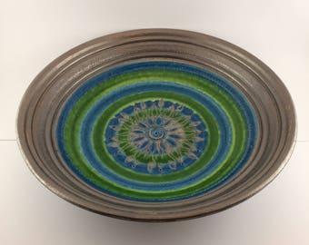 Large Bitossi Ceramic Bowl by Aldo Londi for Rosenthal Netter, Mid Century Modern Italian