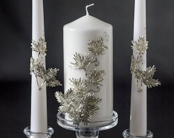 Wedding candles, votive candles, from the collection Silver Leaf, silver glitter, rhinestone, pillar candles, brilliant, unity candle, 3 pcs