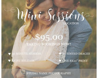 Mini Session Photography Template - Digital Photoshop Marketing Template