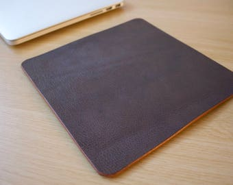 Brown Leather Mouse Pad Leather Desk Pad Handmade in London Custom Sizing Available