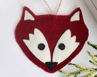 Fox Valentine's Day Gift  - Wool Fox Ornament  - Rustic Christmas Decor - Woodland Gift - Keepsake Gift - Woodland Decor - Animal Lover Gift