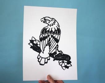 Eagle Linoleum Print