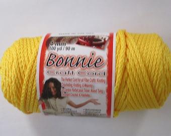 Bonnie Macrame Craft Cord 4mm 100 Yards Sunshine Yellow
