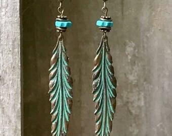 Bronze Feather Earrings Patina Turquoise Earrings Verdigris Turquoise Earrings Tribal Earrings Nature Earrings Boho Jewelry Bohemian Earring