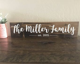 Family Established Sign, Custom Family Name Sign, Rustic Stained Sign