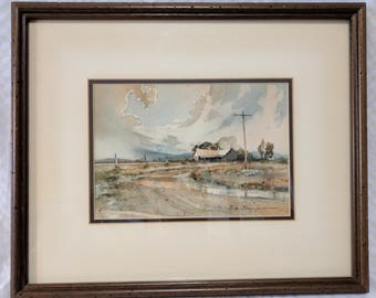 S. L. Thompson Original Water Color  - Texas 'After the Storm'