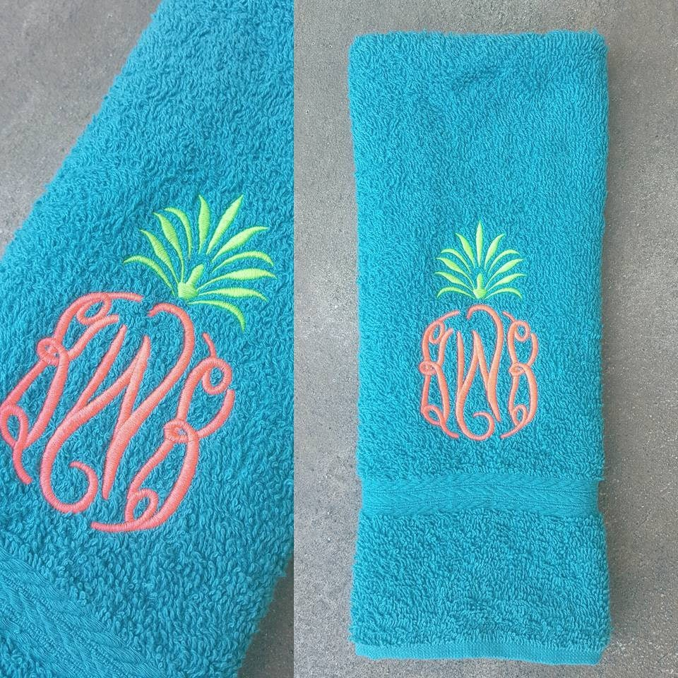 Sweat Towels Sizes: Pineapple Monogram Sweat Towel Gym Towel Personlized Gifts