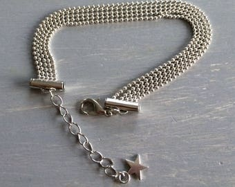 Metal bracelet with ball chain