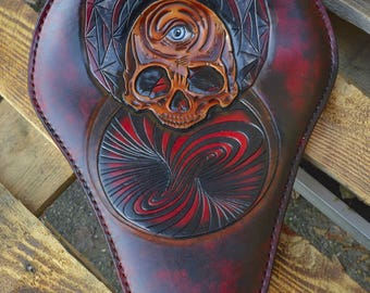 Custom made Bobber Seat  *The Mind Whirl* unique leather carving