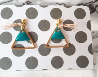 Earrings 'Triangle' green turquoise/beige