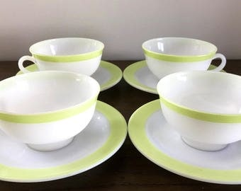 Vintage Mid Century set of 4 Pyrex Cup and Saucer | White with Lime Green Trim | Tea Cup Set