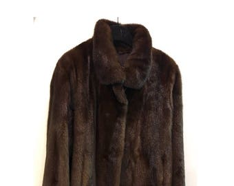 Sale 30% - fur - jacket mink (T38/40) chocolate brown - tailored - Jacktet (T38) chocolate Brown Mink collar - Notched collar