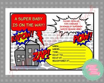 Superhero Baby Shower Invitation | Etsy