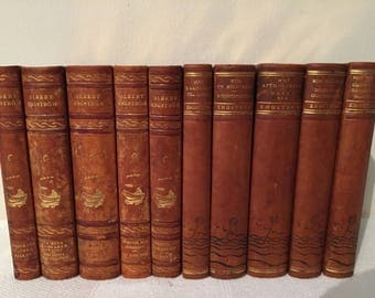 10 Antique decorative leather bound books