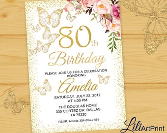 80th birthday invitation, Floral birthday invitation,  Any Age Birthday invite, birthday party, butterfly birthday invitation Digital file28