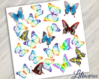Butterfly Clipart, coloring butterfly, rainbow butterflys, Butterfly Clip Art, Instant Download, Digital File